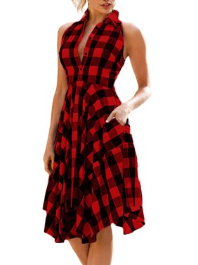 OUMY Women Sleeveless Asymmertrical Hem Plaid Dress