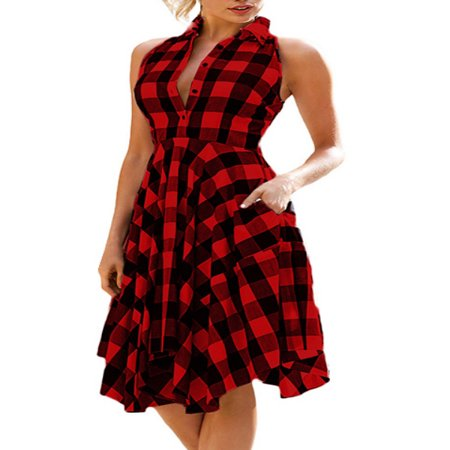 - OUMY Women Sleeveless Asymmertrical Hem Plaid Dress