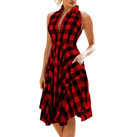 Reflections Sleeveless Dress - OUMY Women Sleeveless Asymmertrical Hem Plaid Dress