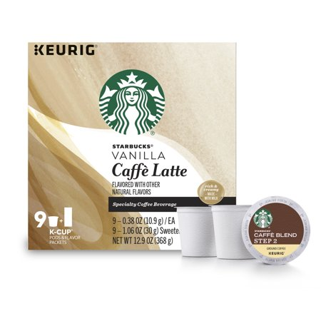 Starbucks Vanilla Caffe Latte Medium Roast Single Cup Coffee for Keurig Brewers, of 9 (9 Total K-Cup