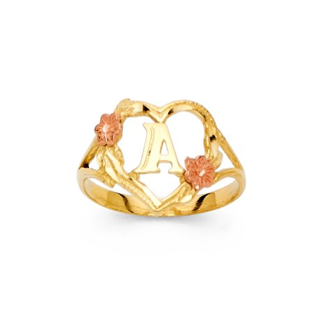 FB Jewels 14K Yellow White and Rose Three Color Gold Initial Letter Ring
