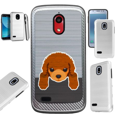 For AT&T Axia (2018) Case Brushed Metal Texture Hybrid TPU Artillery Phone Cover (Cute Dog (Best Brush For Poodles)