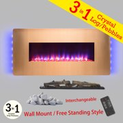 """AKDY FP0069 36"""" Gold Color finish Wall Mount Freestanding Convertible 22 Setting 3-in-1 Fuel Bed Electric Fireplace Heater Stove"""