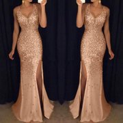b9b4feaa9f5 Women Sequin Prom Party Ball Gown Sexy Gold Evening Bridesmaid V Neck Long  Dress
