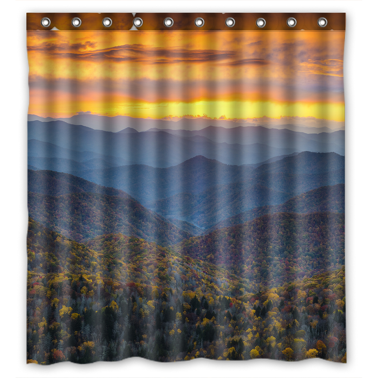 Shower Curtains Winter Tree Mystic Watercolor Mountains Art