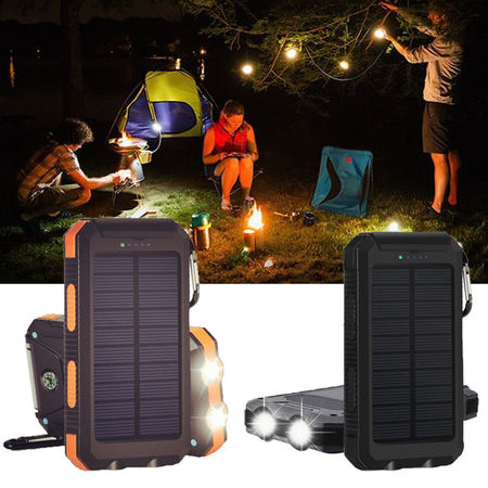 - Waterproof 600000mAh Dual USB Portable Solar Battery Charger Solar Power Bank for iPhone, Mobile Cell Phone-Orange