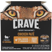 CRAVE Grain Free Multipack High Protein Chicken Pate Wet Cat Food Trays (6 Twin Packs, 2.6 oz each)