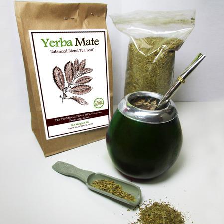 - 4Pc Argentina Yerba Mate Tea Gourd Cup Straw Bombilla 6oz Leaf Bag Kit Pack 4200