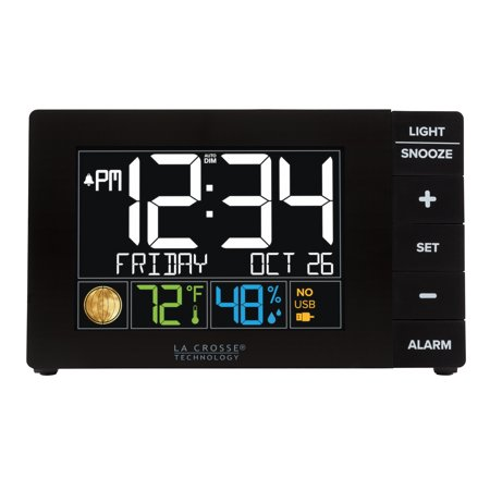 La Crosse Technology Color Alarm Clock with Temperature and USB -