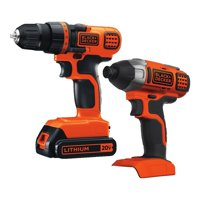 BLACK+DECKER 20-Volt MAX* 1.5 Ah Cordless Lithium-Ion Drill And Impact Driver Combo Kit, BD2KITCDDI