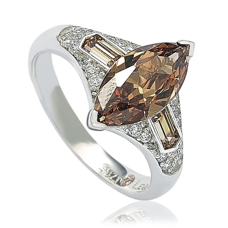 Huge Cubic Zirconia Ring - Sterling Silver Brown Cubic Zirconia Marquise Ring
