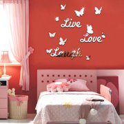 Live Love Laugh Butterfly 3D Wall Mirror Sticker Silver Acrylic Art Decal Mural DIY Modern Home