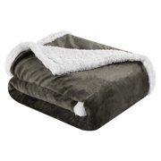 9adc5c7dfd 1LANGRIA Reversible Flannel Sherpa Throw Blanket Soft Cozy Warm Plush Fuzzy  Easy Care Couch Sofa