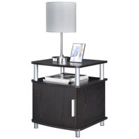Ameriwood Home Carson End Table with Storage, Espresso/Silver