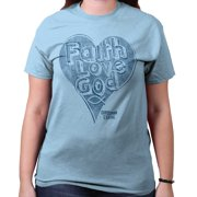 3b93e2a99e9 Faith Love God Heart Christian Shirt