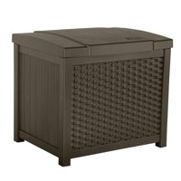 Suncast 22 Gallon Wicker Resin Outdoor Storage Deck Box & Seat, Java | SSW900
