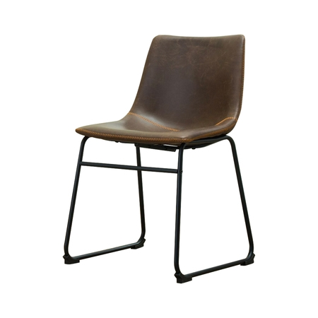 Roundhill Furniture Lotusville Vintage PU Leather Dining Chairs, Antique Brown, Set of 2 Antique Dining Tables Chairs