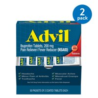 (2 Pack) Advil Pain Reliever / Fever Reducer Coated Tablet Refill 2 by 50 Ct, 200mg Ibuprofen