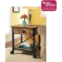 Better Homes & Gardens Rustic Country End Table, Antiqued Black/Pine Finish