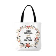 c76750b53 ASHLEIGH Christmas Greeting Wreath Happy New Year and Merry Christmas Canvas  Tote Bags Reusable Shopping Bags