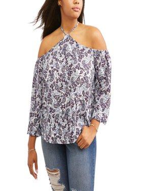 Women's Plus Size Halter Neck Cold Shoulder Blouse