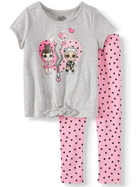 Heart Tie-Front T-Shirt and Capri Legging, 2-Piece Outfit Set (Little Girls)