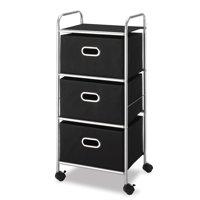 Whitmor 3 Drawer Chest Cart Black & Silver