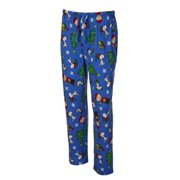 Peanuts Mens Blue Knit Christmas Holiday Sleep Pants Pajama Bottoms