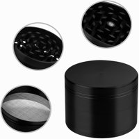 GPCT [Stainless Steel] Herb Spice Grinder. 4.9 CM Tall, 4 Pieces, 3 Chambers, Pollen Catcher, Stive Scraper Included [Durable] Zinc Alloy Magnetic Top - Black