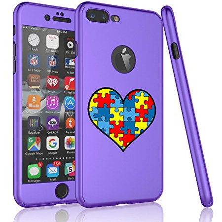 For Apple iPhone 360° Full Body Thin Slim Hard Case Cover + Tempered Glass Screen Protector Heart Puzzle Autism Color (Purple For iPhone 6 Plus / 6s Plus)](Color For Autism)