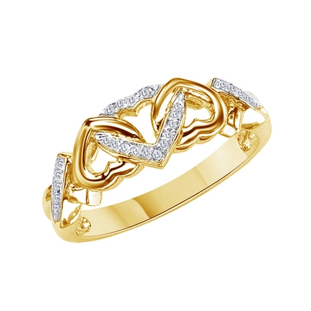 White Natural Diamond Accent Triple Heart Promise Ring In 14k Yellow Gold Over Sterling Silver (0.03 Cttw)