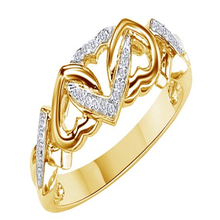 - White Natural Diamond Accent Triple Heart Promise Ring In 14k Yellow Gold Over Sterling Silver (0.03 Cttw)