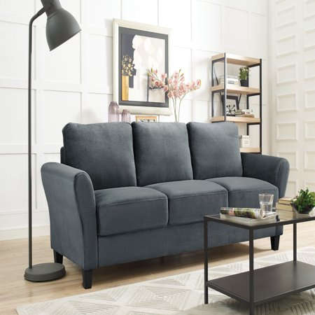 Alexa Rolled-Arm Sofa, Dark Grey