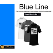 9ae9d164a41 Blue Line Dark Iron On Heat Transfer Paper for Inkjet 8.5 X 11 - 30 Sheets