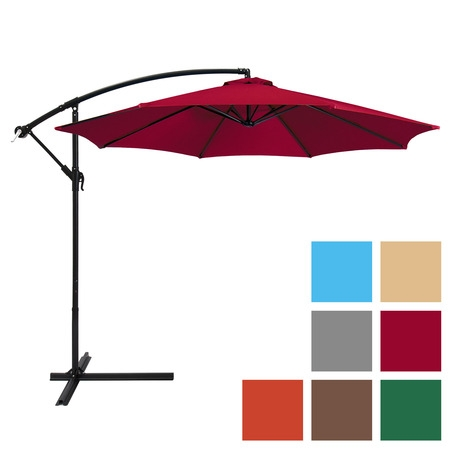 Best Choice Products 10ft Offset Hanging Outdoor Market Patio Umbrella w/ Easy Tilt Adjustment - Red