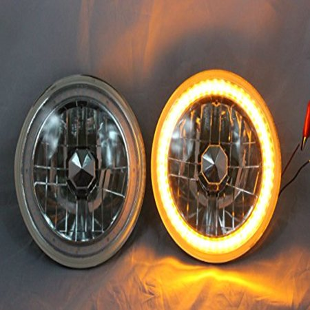 "1969-1974 Dodge D100 D200 D300 Pickup 7"" H6024 H6014 H6015 Round Semi-Sealed Beam Projector Headlights Black Crystal Amber LED Halo"
