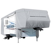 Waterproof Superior 5th Wheel Toy Hauler RV Motorhome Cover Fits Length 33'-37' New Fifth Wheel Travel Trailer Camper Zippered Panels Heavy Duty 4 Layer Fabric