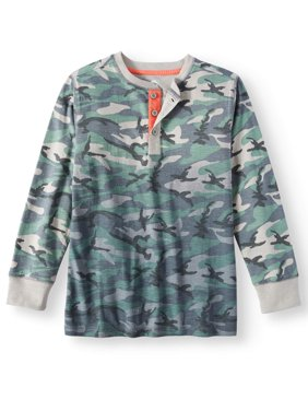 Long Sleeve Camo Henley Tee (Little Boys & Big Boys)