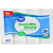 Great Value Everyday Strong Printed Paper Towels, 8 Count