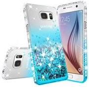 Wydan Case For Samsung Galaxy S7 Edge - Liquid Quicksand Shockproof Glitter Phone Cover - Teal