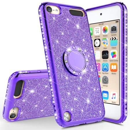 Apple iPod Touch 6 Case, iPod 6/5 Case [Tempered Glass Screen Protector],Glitter Ring Stand Bling Sparkle Diamond Case For Apple iPod Touch 5/6th Generation - Purple - image 3 of 5