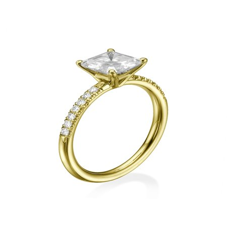 6.50MM Forever One D-F VS Moissanite Engagement Ring With Diamonds (0.42 ct Moissanite Weight, 1.44 ctw dew) Asscher Cut 14K Gold ()