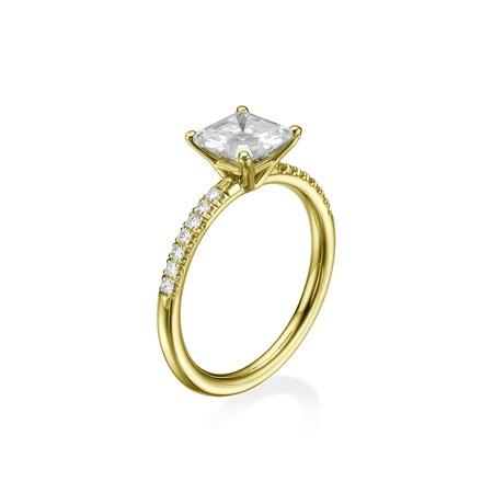 6.50MM Forever One D-F VS Moissanite Engagement Ring With Diamonds (0.42 ct Moissanite Weight, 1.44 ctw dew) Asscher Cut 14K Gold (Asscher Cut Vs Princess Cut)
