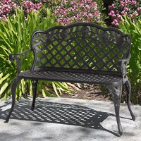 Best Choice Products Aluminum 2-Person Bench Decor Furniture for Patio, Garden, Yard w/ Lattice Backrest and Seat, Rose Detailing - Bronze