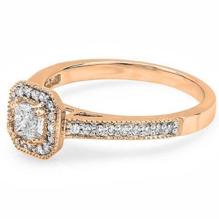 Dazzlingrock Collection 0.50 Carat (ctw) 18K Princess & Round Diamond Halo Bridal Engagement Ring 1/2 CT, Rose Gold, Size 7.5