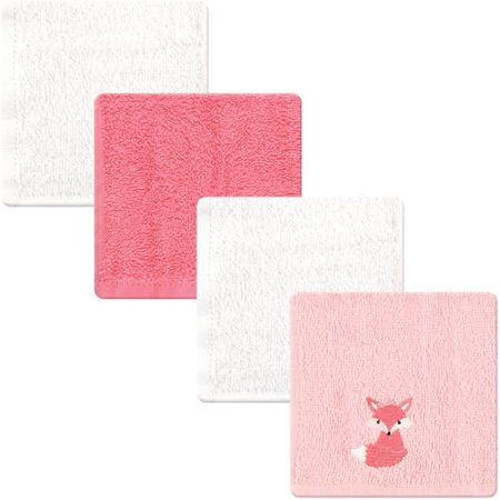 - Luvable Friends Baby Boy and Girl Woven Terry Washcloths, 4-Pack - Pink Foxy