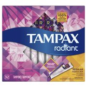 Tampax Radiant Regular Plastic Tampons, Unscented, 32 Count