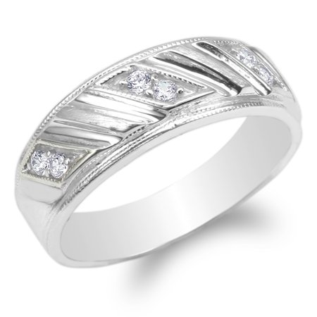 Mens 925 Sterling Silver Round CZ Pattern Wedding Band Ring Size 7-12