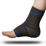 Premium Foot Sleeve and Ankle Brace Compression Support by FOMI Care | Stabilizing Sock Wrap for Plantar Fasciitis, Stiff or Sore Muscles | Reduces Swelling, Comforts Heal Spurs (Small / Medium)