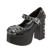 7547e3f843f Womens Chain Corset Gothic Pumps Mary Jane Shoe Chunky Heel Platform 4 1 2  Inch